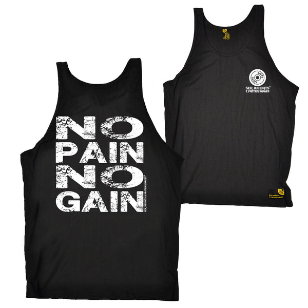 FB Sex Weights and Protein Shakes Gym Bodybuilding Vest - No Pain No Gain - Bella Singlet Top