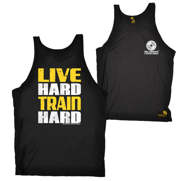FB Sex Weights and Protein Shakes Gym Bodybuilding Vest - Live Hard Train Hard - Bella Singlet Top