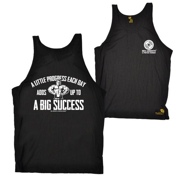 FB Sex Weights and Protein Shakes Gym Bodybuilding Vest - A Little Progress - Bella Singlet Top