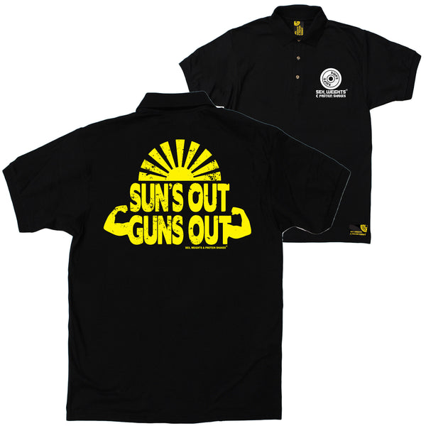 FB Sex Weights and Protein Shakes Gym Bodybuilding Polo Shirt - Suns Out Guns Out - Polo T-Shirt