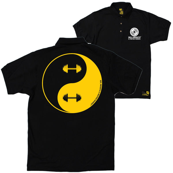 FB Sex Weights and Protein Shakes Gym Bodybuilding Polo Shirt - Dumbell Yin Yang - Polo T-Shirt