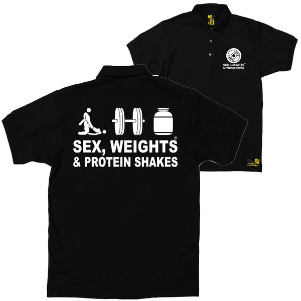 FB Sex Weights and Protein Shakes Gym Bodybuilding Polo Shirt - Swps Logo 2 White - Polo T-Shirt