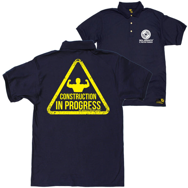 FB Sex Weights and Protein Shakes Gym Bodybuilding Polo Shirt - Construction In Progress - Polo T-Shirt