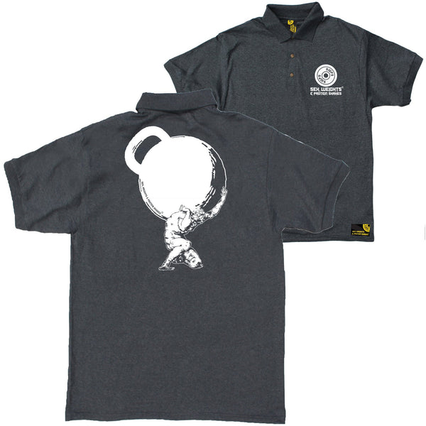 FB Sex Weights and Protein Shakes Gym Bodybuilding Polo Shirt - Atlas Kettlebell - Polo T-Shirt
