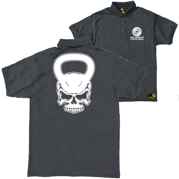 FB Sex Weights and Protein Shakes Gym Bodybuilding Polo Shirt - Skull Kettlebell - Polo T-Shirt