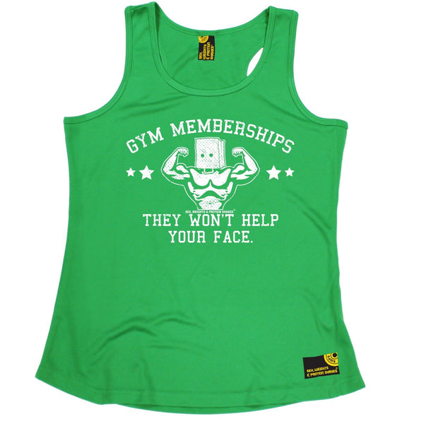 SWPS Gym Memberships ... Help Your Face Sex Weights And Protein Shakes Girlie Training Vest