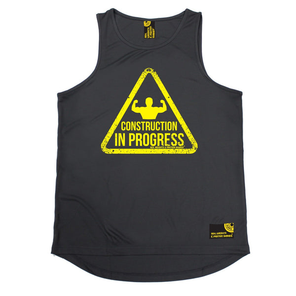 SWPS Construction In Progress Sex Weights And Protein Shakes Gym Men's Training Vest