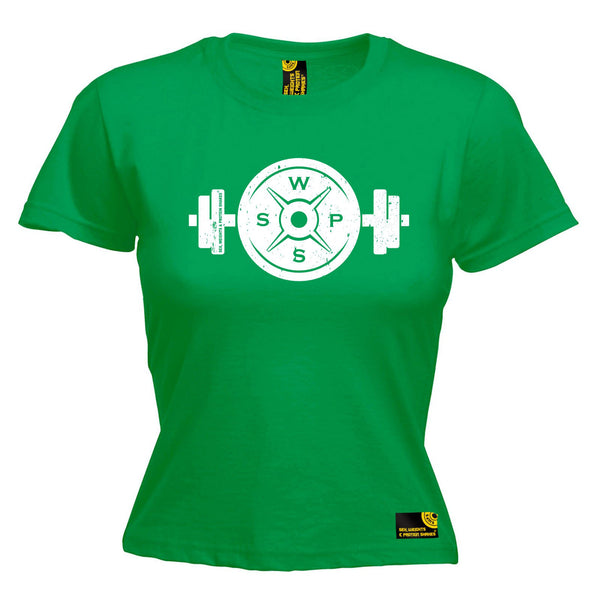 Weight Plate Dumbbell Design Women's Fitted T-Shirt