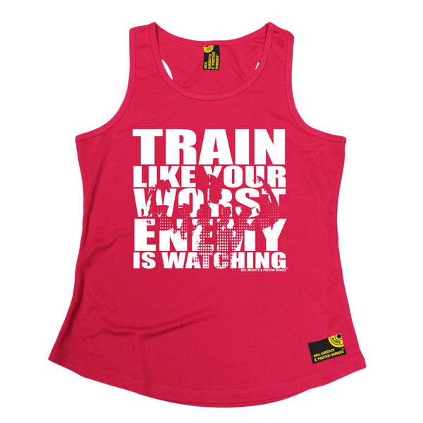 Sex Weights and Protein Shakes GYM Training Body Building -  Train Like Your Worst Enemy Is Watching - GIRLIE PERFORMANCE COOL VEST - SWPS Fitness Gifts