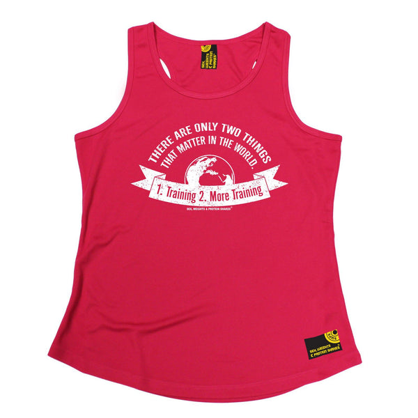 SWPS There Are Only Two Things Training Sex Weights And Protein Shakes Gym Girlie Training Vest