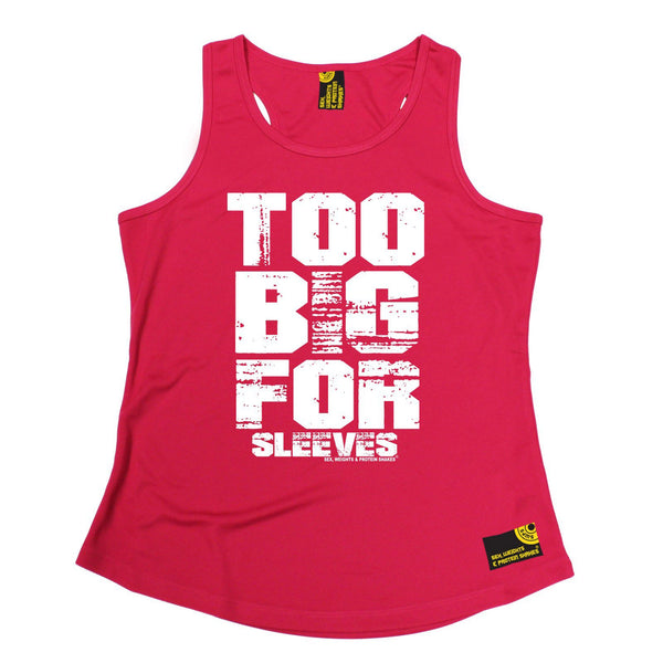 SWPS Too Big For Sleeves Sex Weights And Protein Shakes Gym Girlie Training Vest