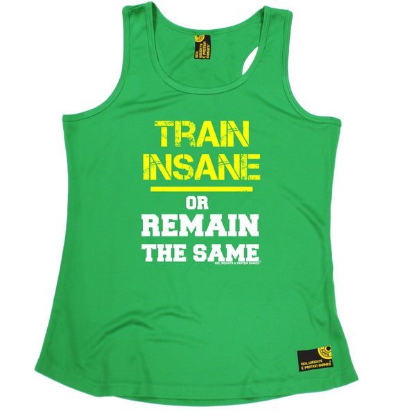 Sex Weights and Protein Shakes GYM Training Body Building -  Train Insane Or Remain The Same - GIRLIE PERFORMANCE COOL VEST - SWPS Fitness Gifts