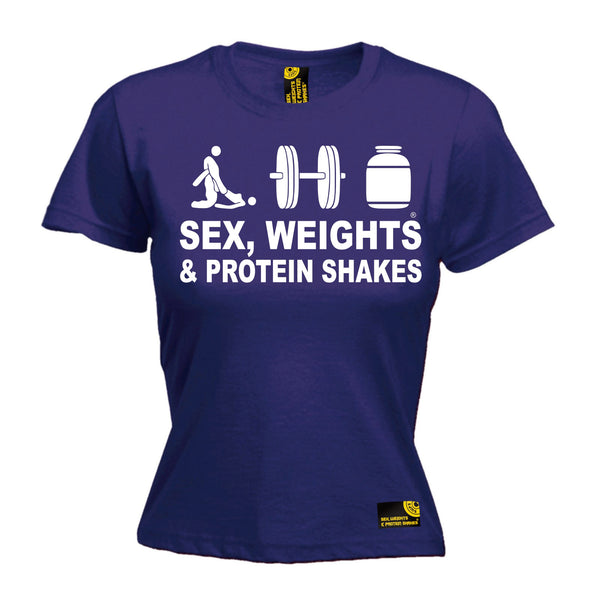 Sex Weights & Protein Shakes ... D3 Women's Fitted T-Shirt