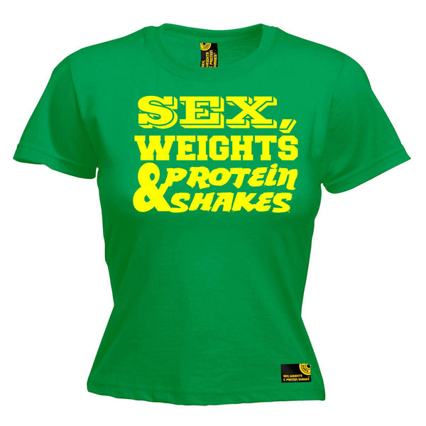 SWPS Women's Yellow Text Design Sex Weights & Protein Shakes Gym T-Shirt