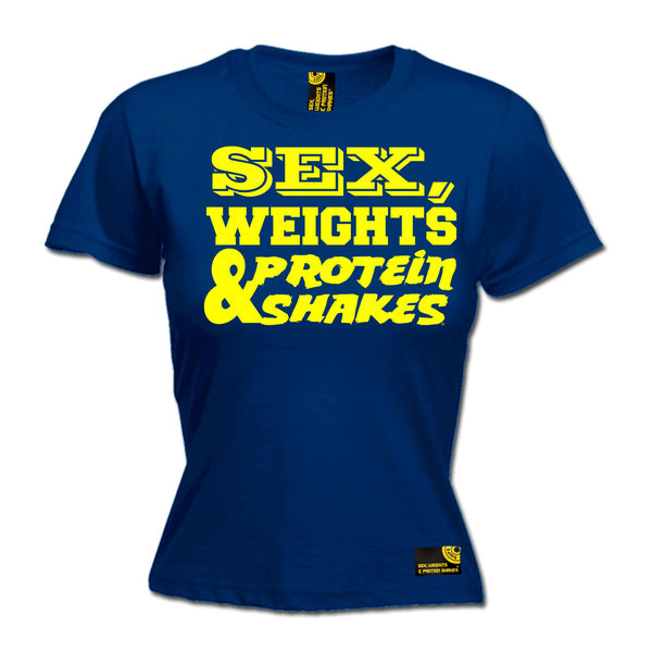 Sex Weights & Protein Shakes ... Yellow Text Women's Fitted T-Shirt