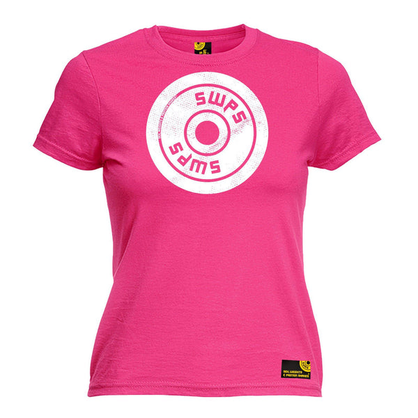 SWPS Women's Weight Plate Big Logo Design Sex Weights And Protein Shakes Gym T-Shirt