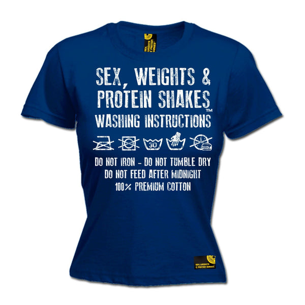 SWPS Women's Washing Instructions Sex Weights And Protein Shakes Gym T-Shirt