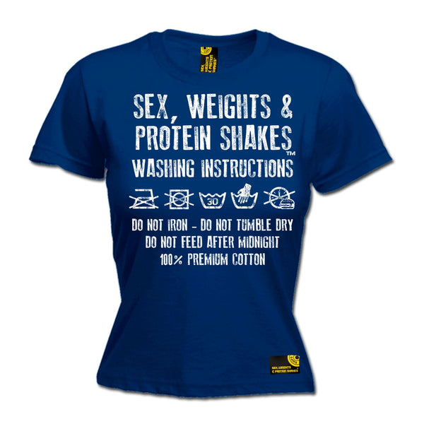 Sex Weights & Protein Shakes ... Washing Instructions Women's Fitted T-Shirt