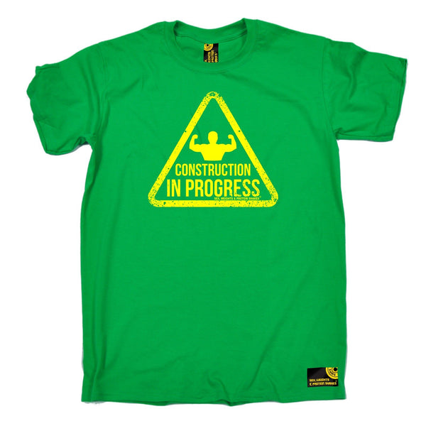 SWPS Men's Construction In Progress Sex Weights And Protein Shakes Gym T-Shirt