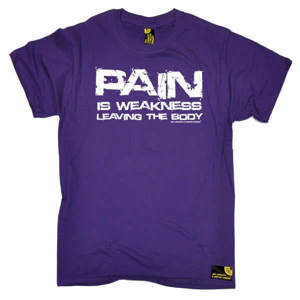 SWPS Men's Pain Is Weakness Leaving The Body Sex Weights And Protein Shakes Gym T-Shirt