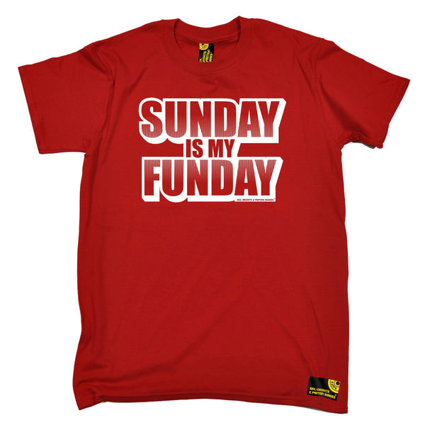 SWPS Men's Sunday Is My Funday Sex Weights And Protein Shakes Gym T-Shirt