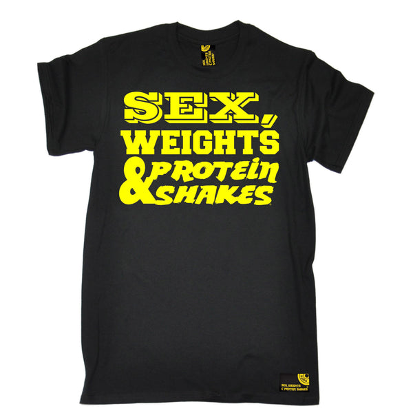 Sex Weights & Protein Shakes ... Yellow Text T-Shirt