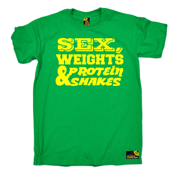 Sex Weights and Protein Shakes Men's Yellow Text Design Sex Weights & Protein Shakes Gym T-Shirt