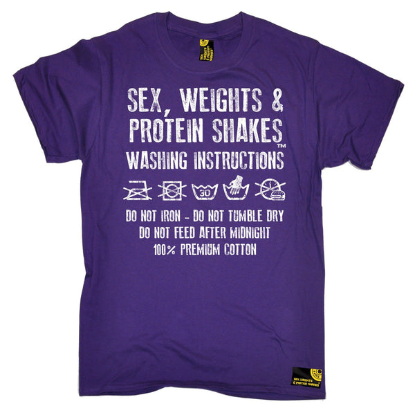 SWPS Men's Washing Instructions Sex Weights And Protein Shakes Gym T-Shirt