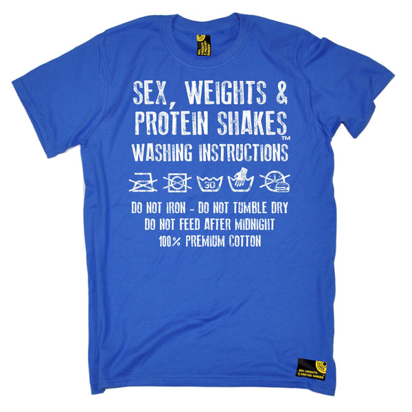 Sex Weights and Protein Shakes GYM Training Body Building -  Men's Sex Weights & Protein Shakes ... Washing Instructions T-SHIRT - SWPS Fitness Gifts