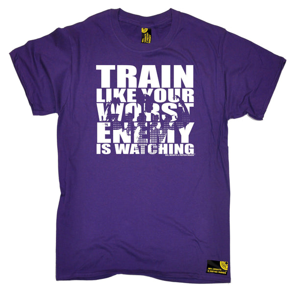 Sex Weights and Protein Shakes GYM Training Body Building -  Men's Train Like Your Worst Enemy Is Watching T-SHIRT - SWPS Fitness Gifts