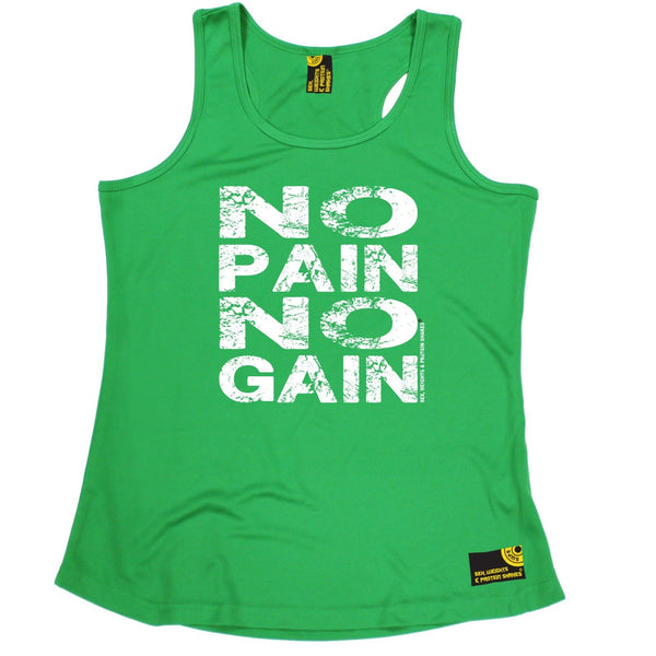 SWPS No Pain No Gain Sex Weights And Protein Shakes Gym Girlie Training Vest