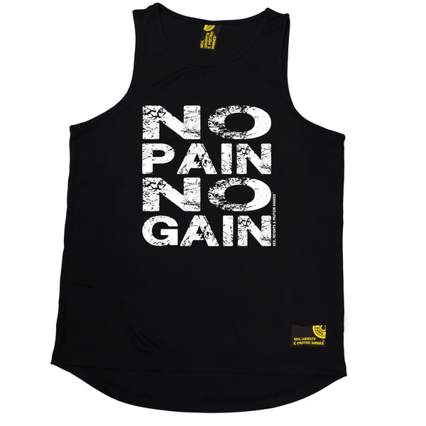 Sex Weights and Protein Shakes GYM Training Body Building -  No Pain No Gain - MEN'S PERFORMANCE COOL VEST - SWPS Fitness Gifts