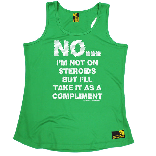 Sex Weights and Protein Shakes GYM Training Body Building -  No I'm Not On Steroids ... As A Compliment - GIRLIE PERFORMANCE COOL VEST - SWPS Fitness Gifts