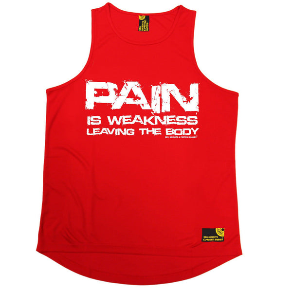 SWPS Pain Is Weakness Leaving The Body Sex Weights And Protein Shakes Gym Men's Training Vest