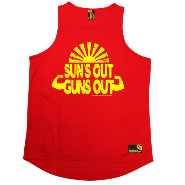 SWPS Suns Out Guns Out Sex Weights And Protein Shakes Gym Men's Training Vest