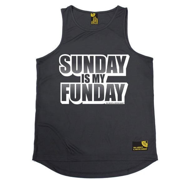 SWPS Sunday Is My Funday Sex Weights And Protein Shakes Gym Men's Training Vest