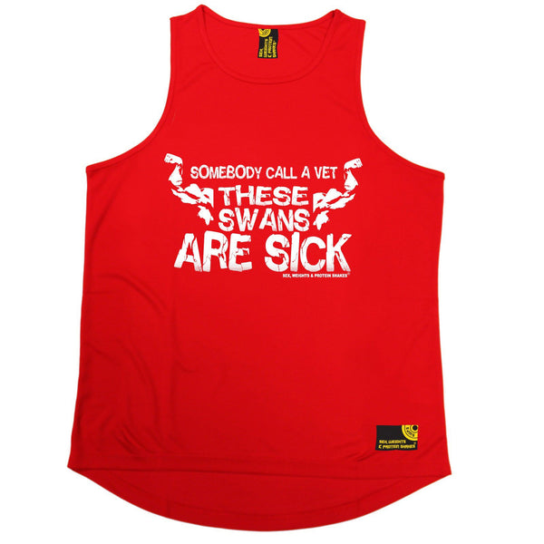 SWPS Call A Vet These Swans Are Sick Sex Weights And Protein Shakes Gym Men's Training Vest