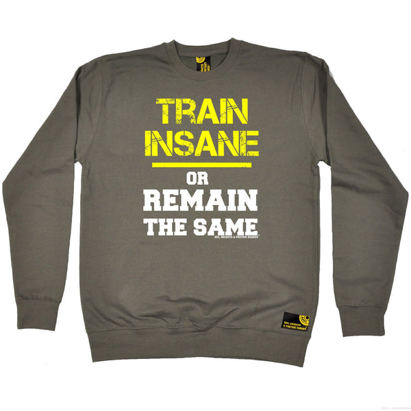 SWPS Train Insane or Remain The Same Sex Weights And Protein Shakes Gym Sweatshirt