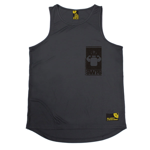 SWPS Protein Flexing Black Breast Pocket Sex Weights And Protein Shakes Gym Men's Training Vest