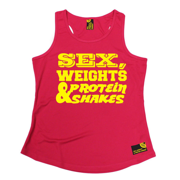 SWPS Yellow Text Design Sex Weights & Protein Shakes Gym Girlie Training Vest