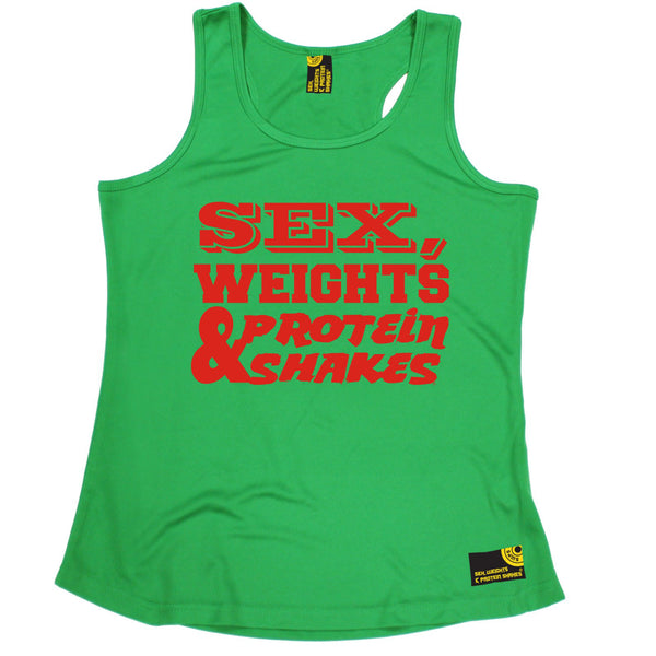 Sex Weights & Protein Shakes ... Red Text Girlie Performance Training Cool Vest