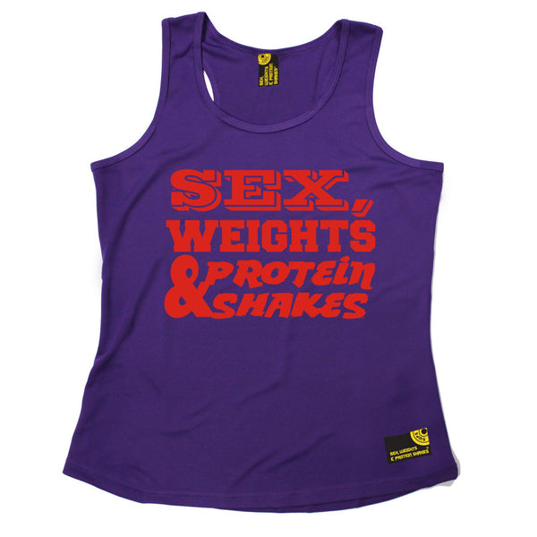 Sex Weights and Protein Shakes Sex Weights & Protein Shakes Red Text Gym Girlie Training Vest