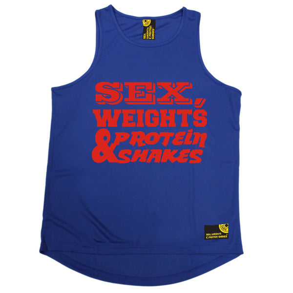 Sex Weights & Protein Shakes ... Red Text Performance Training Cool Vest