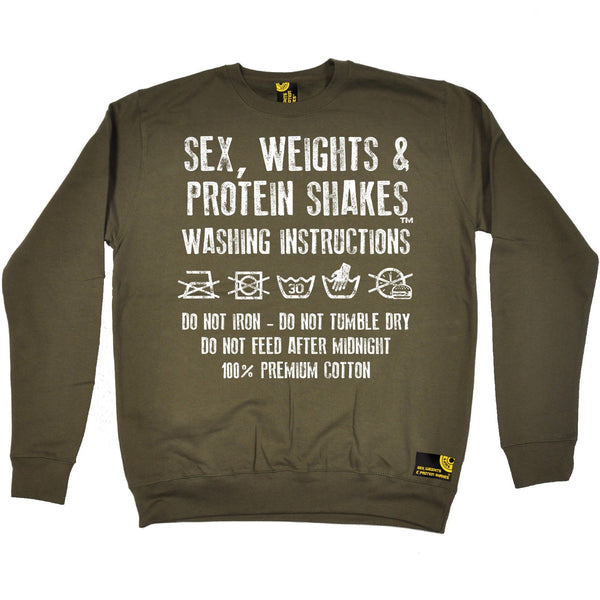 SWPS Washing Instructions Sex Weights And Protein Shakes Gym Sweatshirt