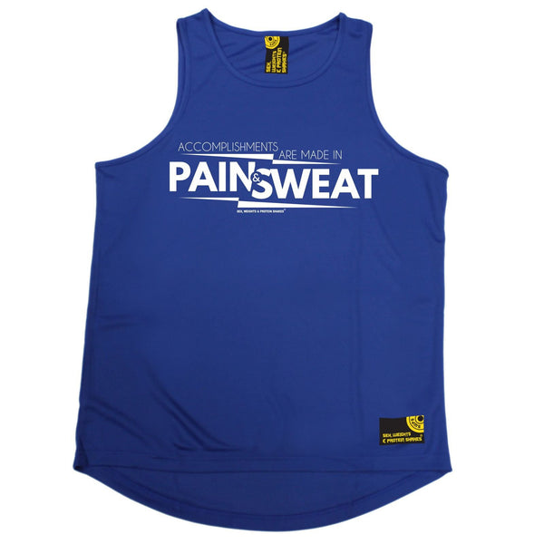 SWPS Accomplishments Are Made In Pain Sex Weights And Protein Shakes Gym Men's Training Vest
