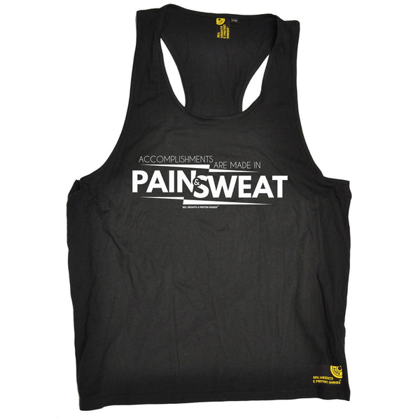 SWPS Accomplishments Are Made In Pain Sex Weights And Protein Shakes Gym Men's Tank Top