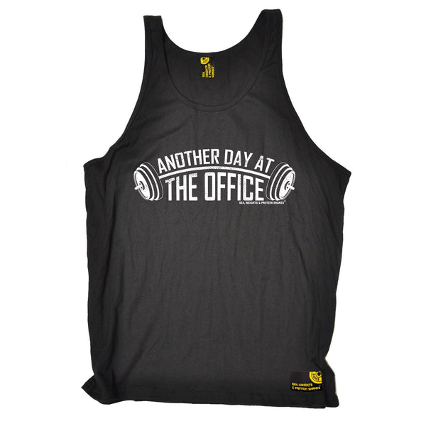 SWPS Another Day At The Office Sex Weights And Protein Shakes Gym Vest Top