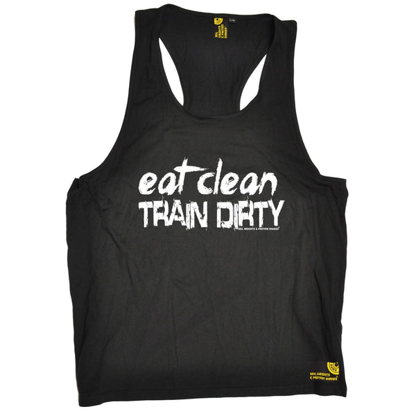 SWPS Eat Clean Train Dirty Sex Weights And Protein Shakes Gym Men's Tank Top