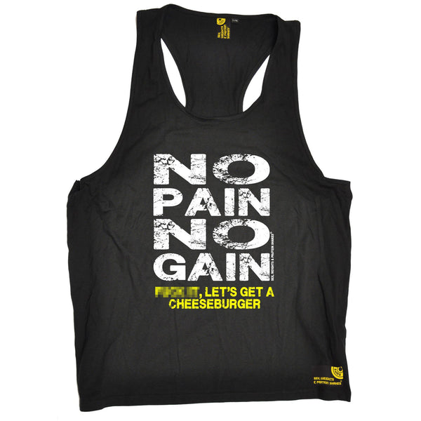 SWPS No Pain No Gain … Cheeseburger Sex Weights And Protein Shakes Gym Men's Tank Top
