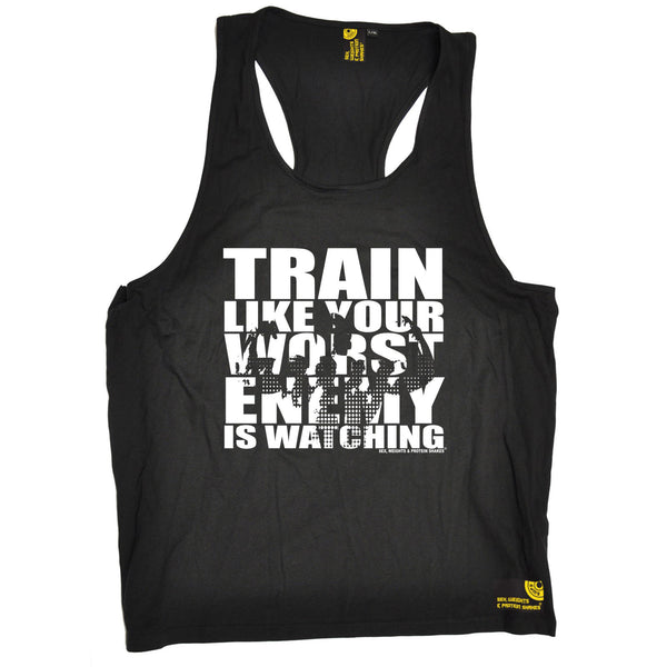 Sex Weights and Protein Shakes GYM Training Body Building -  Men's Train Like Your Worst Enemy Is Watching - TANK TOP - SWPS Fitness Gifts